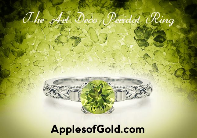 Art Deco Peridot Ring 14K white gold