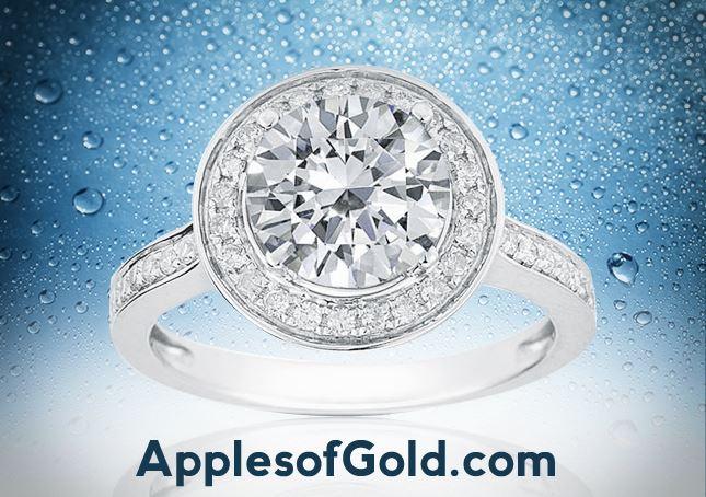 Halo White Topaz and diamond Engagement Ring