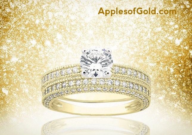antique bridal set in 14K yellow gold