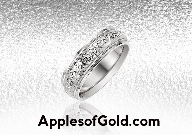 white gold paisley wedding bands, vintage sytle
