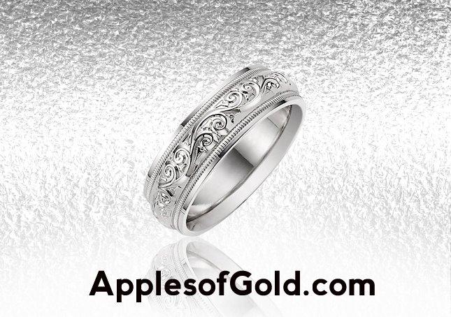 white gold paisley wedding bands, vintage sytle