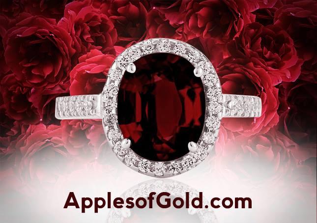 garnet and diamond oval halo ring