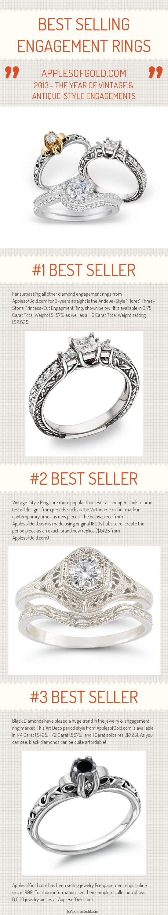 best selling engagement rings of 2013 infographic
