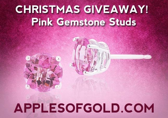 Pink Topaz Gemstone Stud Earrings Christmas Jewelry Giveaway