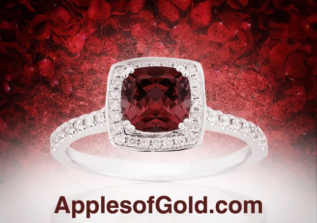 cushion-cut garnet halo ring in 14K white gold
