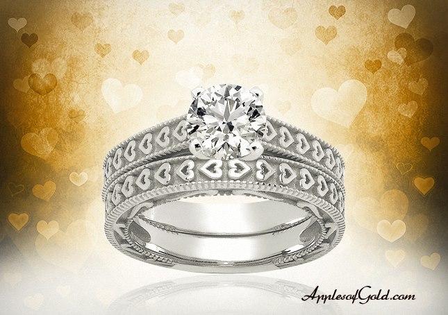 Heart Engagement & Wedding Bridal Ring Set in 14K white gold