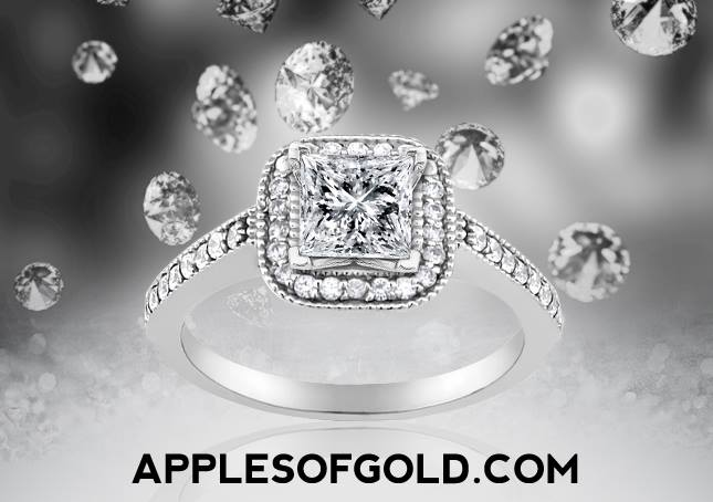 1 Carat Princess-Cut Halo Diamond Engagement Ring