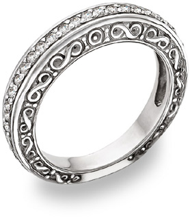 diamond paisley wedding band ring