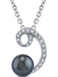 black pearl and diamonds
