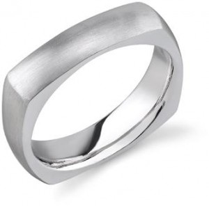 14K White Gold Square Wedding Band