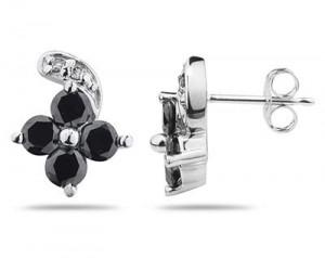 Black Diamond Flower Earring Set