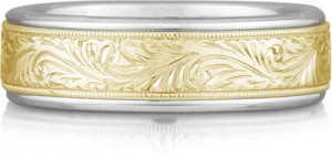 Engraved Two Tone Wedding Ring