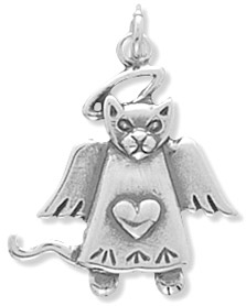 Silver angel cat charm