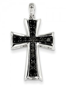 Cross Black Diamond Pendant