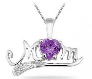 Silver and Amethyst Mom Pendant