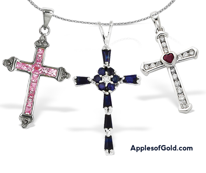 Feminine Gemstone Cross Necklaces For Women Applesofgold Com