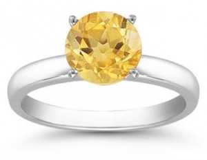 Citrine Solitaire Ring in Sterling Silver