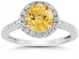 Citrine and Diamond Halo Gemstone Ring in 14K White Gold