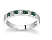 Gift them a Simple Emerald and Diamond Stackable Channel Ring