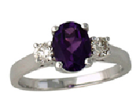 Shine in a Purple Three Stone Amethyst and Diamond Ring