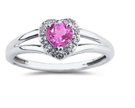 Sparkle in a Pink Heart Shaped Pink Topaz and Diamond Ring