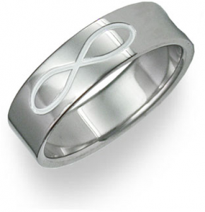 Titanium Infinity Symbol Wedding Band Ring