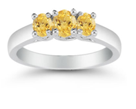 Yellow Three Stone Citrine Ring