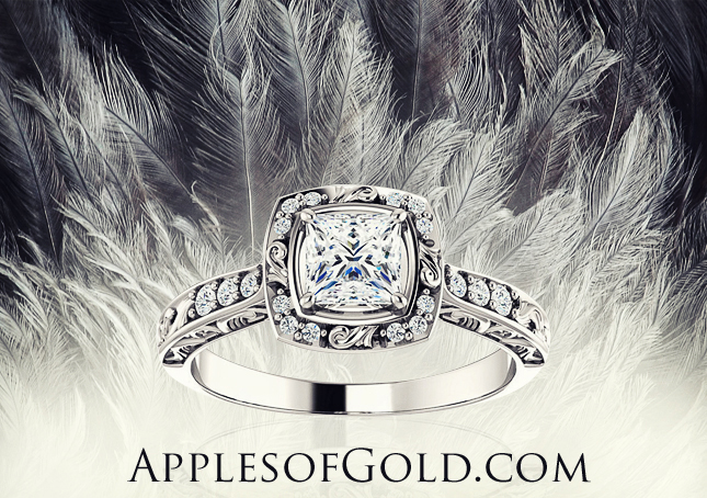 sculptured diamond engagement ring