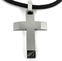 Cross necklaces faith and hope applesofgold this masculine cross is made of pure titanium fashionable sleek elegant and strong it has angled arms and a fine brushed finish with polished bevels aloadofball