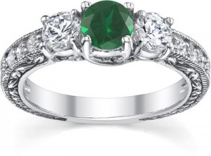 antique-style-three-stone-diamond-and-emerald-engagement-ring-QDR-5-DEMWC