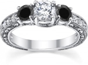1-carat-black-and-white-round-cut-diamond-antique-style-engagement-ring-QDR-5-BLKDWC