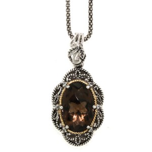 antiqued-smoky-quartz-and-diamond-sterling-silver-pendant-with-18k-gold-accent-141P111622QSWTC