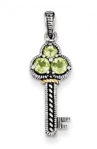 peridot-silver-key-pendant