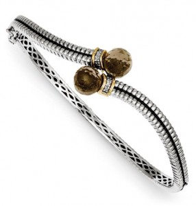 smoky-quartz-bangle-bracelet-silver