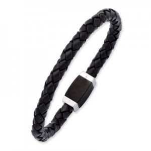 mens-black-leather-braided-bracelet-QGBR-SRB997C