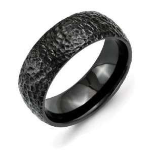 black-titanium-domed-hammered-finished-wedding-band-QGRG-TB385C