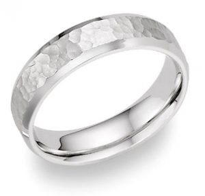 hammered wedding band ring white gold