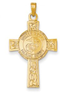 Honor our men and women in uniform military jewelry applesofgold the eagle globe and anchor adorn this elegant cross that salutes our men and women of the united states marine corps set in the center of a celtic cross aloadofball Gallery