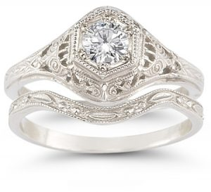 antique-style-diamond-engagement-wedding-ring-set