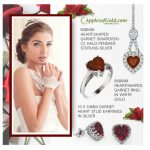 Heart-Shaped Garnet Jewelry Set