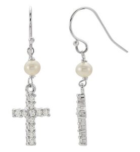 freshwater-pearl-and-cross-earrings-silver