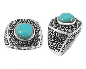 large-etched-design-turquoise-ring-silver