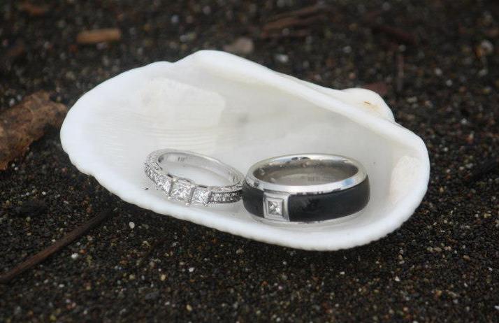 princess-cut diamond floret engagement ring