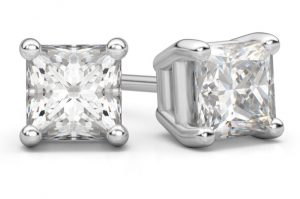 white-gold-princess-cut-diamond-stud-earrings
