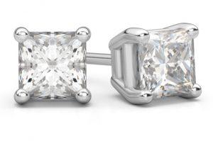 white-gold-princess-cut-diamond-stud-earrings