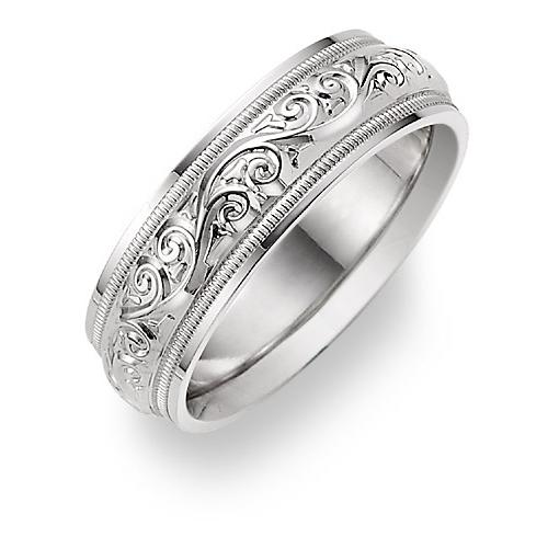 paisley wedding band ring white gold