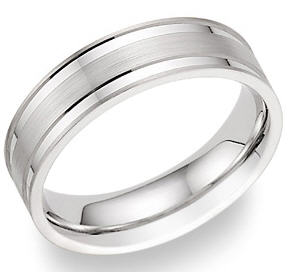 Platinum Flat Edge Wedding Band