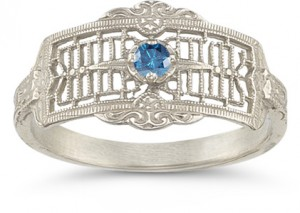 vintage-filigree-blue-diamond-and-white-gold-rign