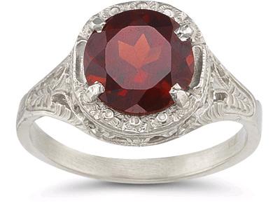 vintage-garnet-floral-ring