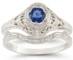 Antique Style Sapphire Ring Wedding Set
